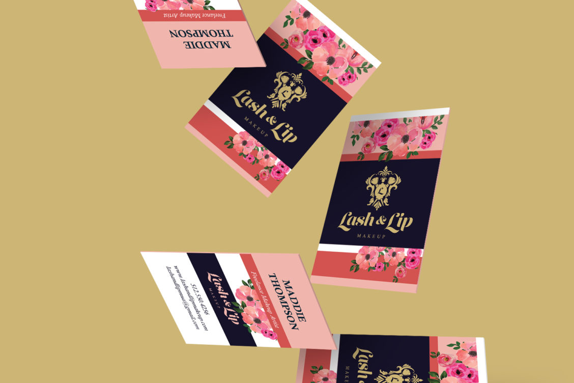 Lash lip makeup business cards nakevia designs austin texas makeup artist branding beauty flower gold pink coral business cards colourmoves