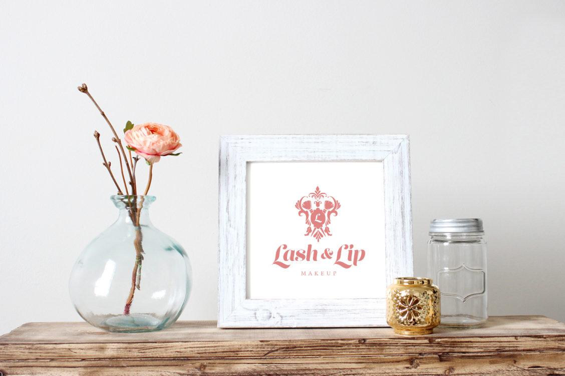 Austin Texas makeup artist branding beauty flower gold pink coral