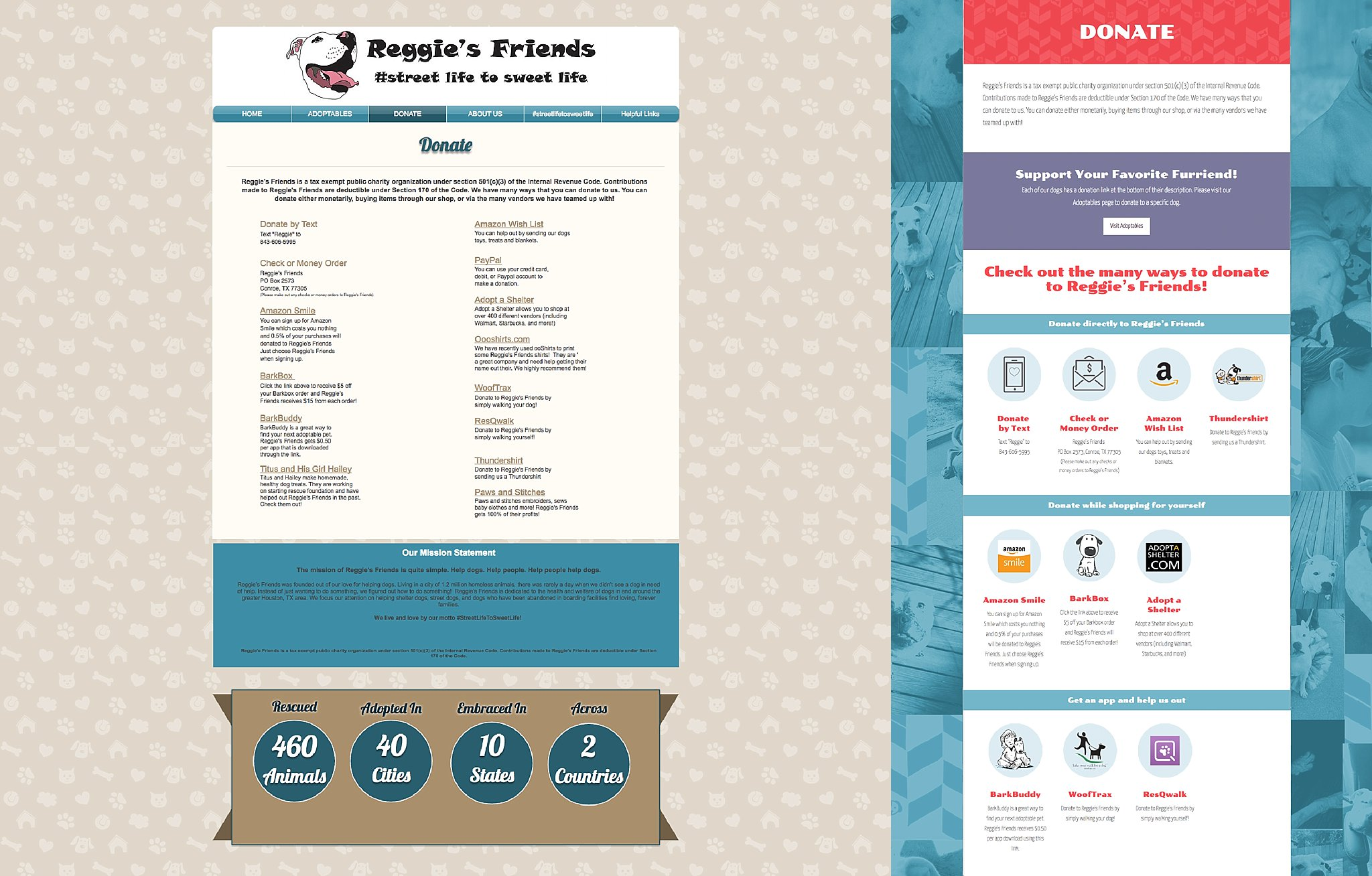 reggie's friends web design pet rescue houston austin graphic designer
