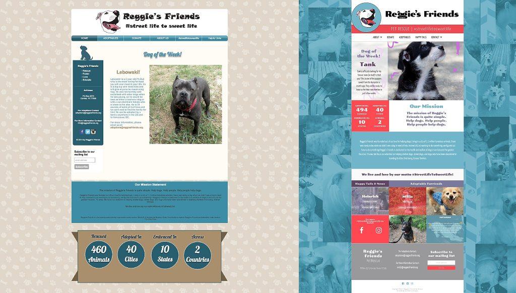 reggie's friends web design pet rescue houston austin graphic designer